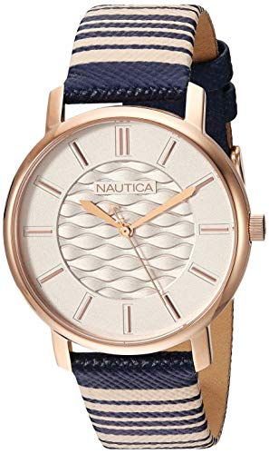 Nautica Women's Coral Gables Stainless Steel Japanese-Quartz Leather Strap, Blue, 17.2 Casual Watch (Model: NAPCGS012
