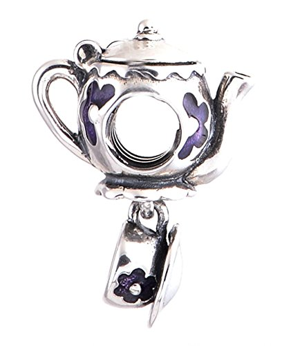 "Best Wing Jewelry .925 Sterling Silver ""Teapot / Tea Set /w Purple Flower and Pink Heart"" Charm Bead"