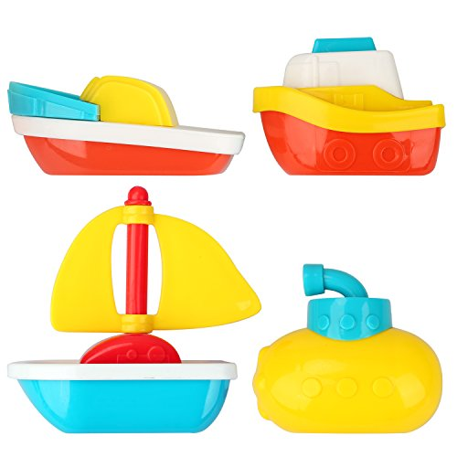 Muuttaa Baby Bath Toys Gift for Boys and Girls - Fun & Educational - Floating & Sinking Boats and Ships for Toddlers & Kids - Phthalate and PVC Free (4 set)