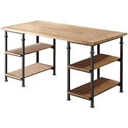Homelegance 3228-15 Writing Desk with Metal Frame, Burnished Brown
