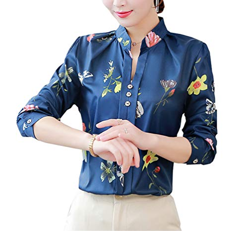 Women's Polyester Blouse Long Sleeve V Neck Petite Elegant Shirt Korean Fashion Wear to Work Tops (US XXS (Tag Asian M), Dark Blue 53)