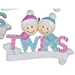 Twin Girls Twin Boys or Twin Girl and Boy Christmas Ornament Personalized (Boy Girl DIY)