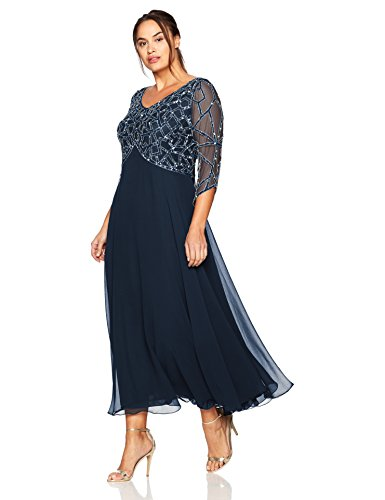 Silver Navy Gown Beaded 3 Kara Women's Plus Geo Size J Sleeve 4 Gun w7qvUxxA