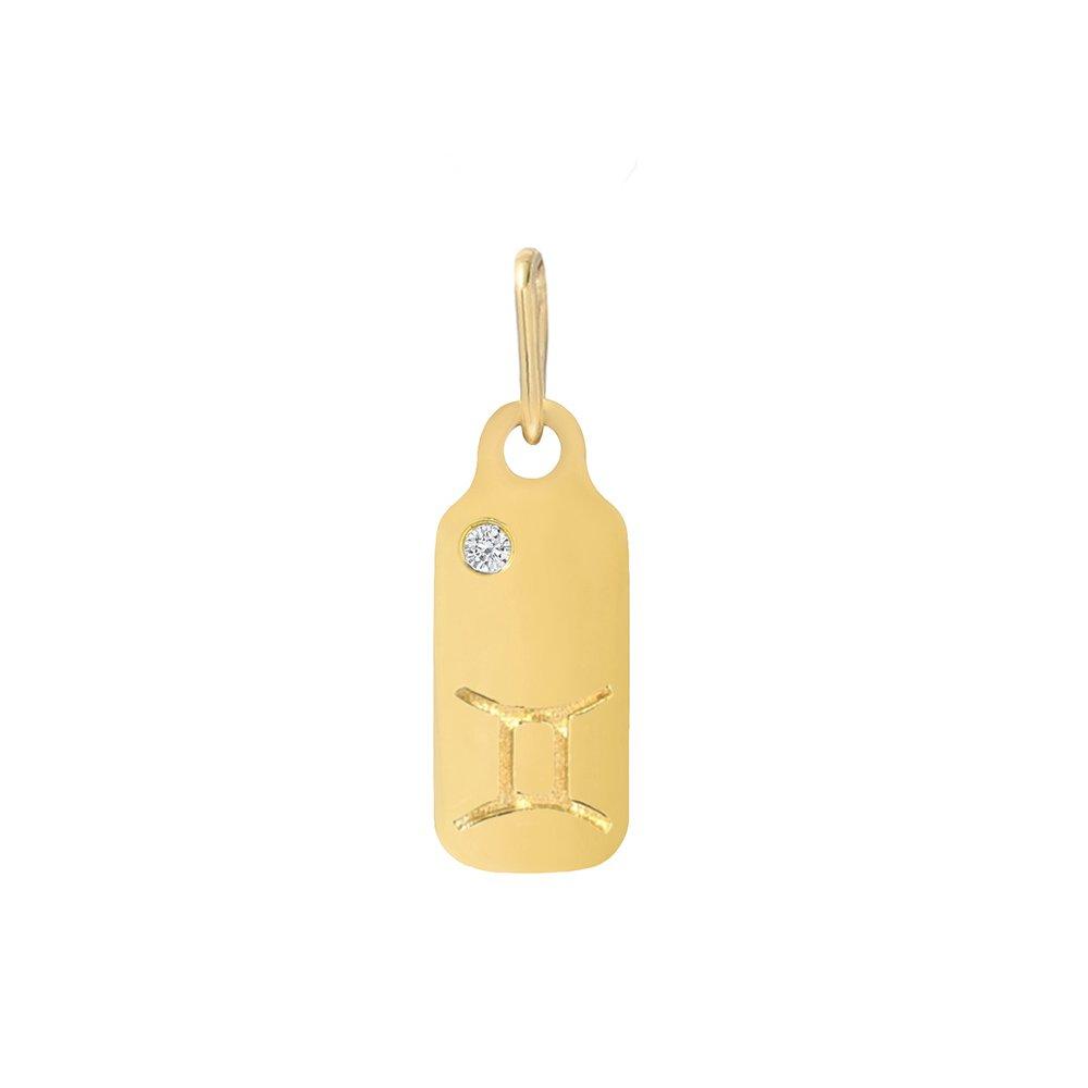 Mini Mini Jewels 14k Gold Brilliant Diamond Set Zodiac Leo Dog-tag Pendant Nacklace