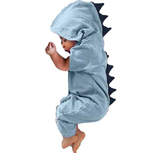 ONE's Newborn Infant Baby Boys Girls Hoodie Romper Jumpsuit Halloween Dinosaur Costume (Blue, 0-3 Months) ()