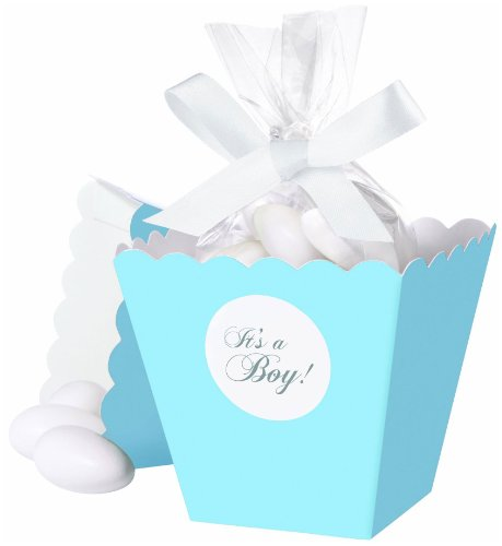 Wilton 415-0501 Blue It's a Boy Popcorn Box Favor Kit, 25 Count -
