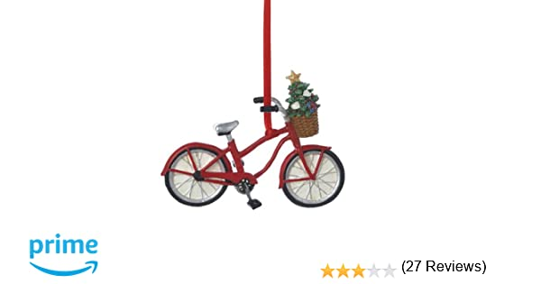 amazoncom kurt adler resin bicycle with basket ornament home kitchen - Bicycle Christmas Ornament