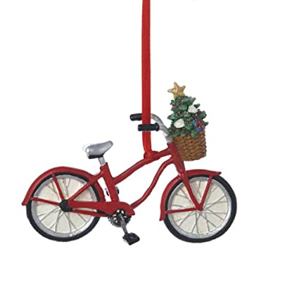 Kurt Adler Resin Bicycle With Basket Ornament