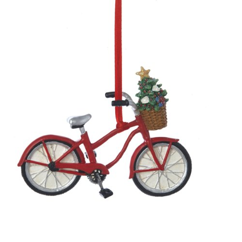 Resin Bicycle With Basket Ornament