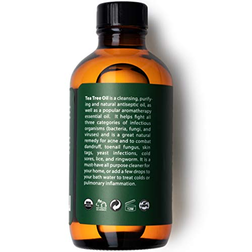 Eve Hansen Organic Tea Tree Oil (4oz) | Highest Quality Melaleuca Alternifolia | Pure Tea Tree Oil for Skin, Scalp, Nail Health and Aromatherapy | Acne Treatment, Lice Treatment and Skin Tag Remover