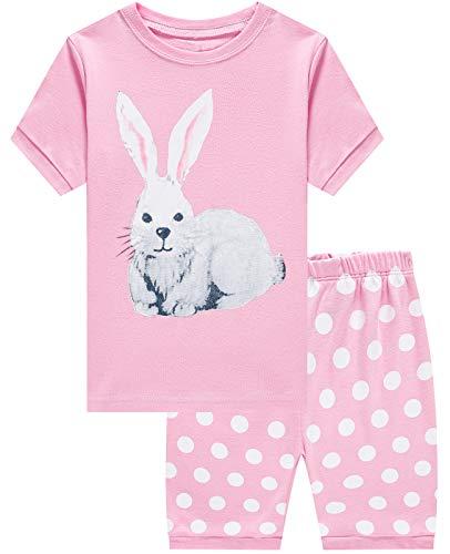 Girls Pajamas 100% Cotton Easter Gifts Rabbit Pjs Summer Short Set Toddler Clothes Kids Sleepwear Size 7