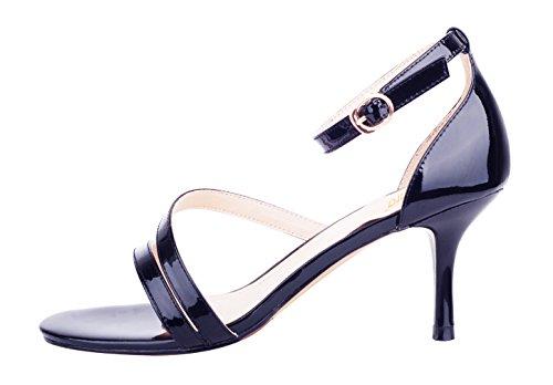 Verocara Women's Ankle Straps Open toe Stilettos Party Wedding Prom Sandals Fashion Sexy Pump shoes Navy Patent 5 UK