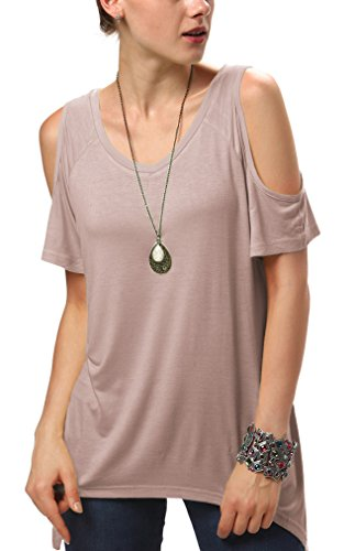 (Urban CoCo Women's Vogue Shoulder Off Wide Hem Design Top Shirt - X-Small - Thistle)