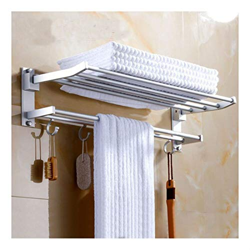 - Modern Double Wall Mounted Bathroom Bath Towel Rail Holder Storage Rack Shelf MK