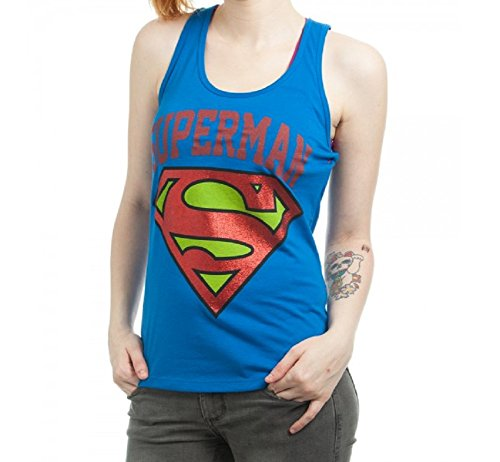 Large Superman Logo All Over Print Women's Tank Top Juniors L [Apparel]