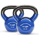 Yes4All Combo Vinyl Coated Kettlebell Weight Sets – Great for Full Body Workout and Strength Training – Vinyl Kettlebells 15 20 lbs