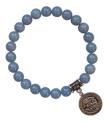 ST. MICHAEL MEDAL - Blue Angelite Healing Gemstone Stretch Bracelet with Sterling Silver St. Michael Medal (Michael Sterling Round Medal)