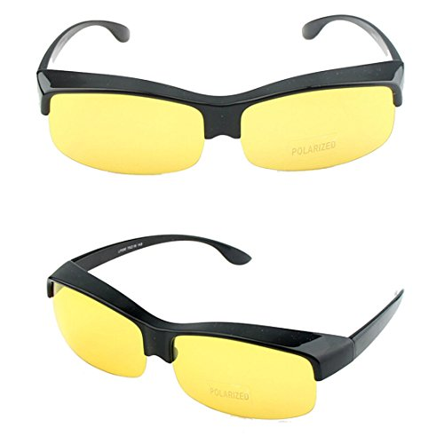 Agstum Fit Over Sunglasses Prescription Glasses Polarized Lens (Black frame with yellow - Over Eyeglasses Sunglasses You Can Wear