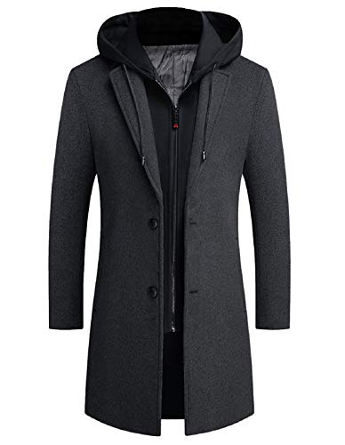 iCKER Men's Wool Woolen Coat Long Trench Coat Winter Casual Jacket Slim Fit Overcoat