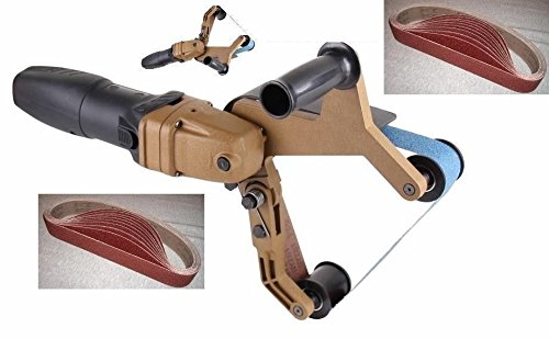 (Year 2014 New Version) Pipe and Tube Polisher Sander Grinder for Polishing Stainless Steel 40 Pieces of Belt Grit 60 120 320 800 Included One Year Warranty