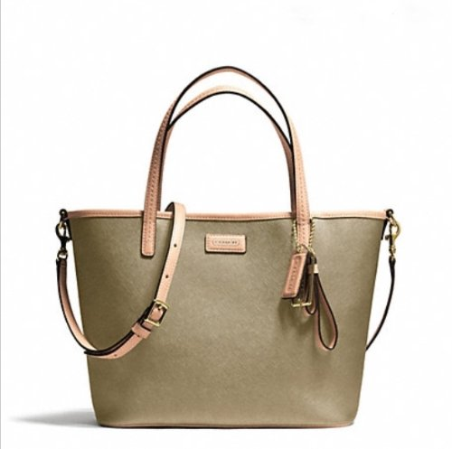 Coach Parker Metallic Leather Small Tote Gold