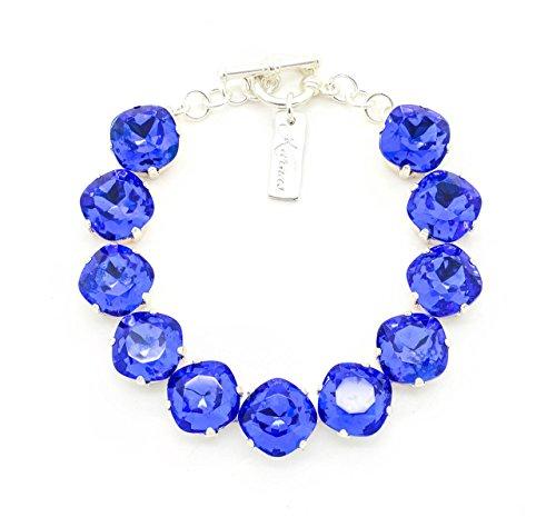 Blue Sapphire Doublet - OUT Of The BLUE 12MM Sapphire Doublet Bracelet Cushion Cut *Pick Your Finish *Karnas Design Studio