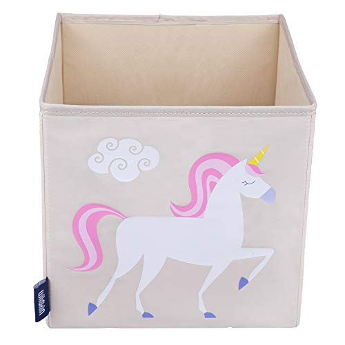 Wildkin 10 Inch Storage Cube, Perfect for Promoting Organization, Measures 10 x 10 x 10 Inches, Coordinates with Other Room Décor – Olive Kids Design, Unicorn