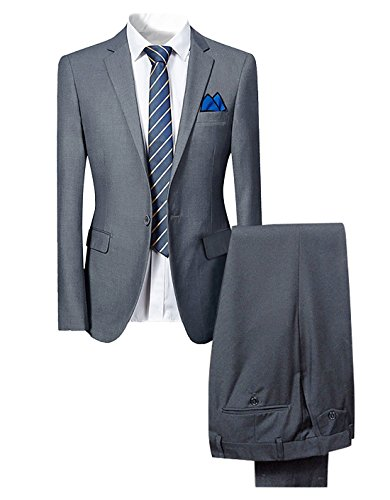 Mens Smart 2 Piece Suit Slim Fit Single Breasted Blazer Jacket and Trousers