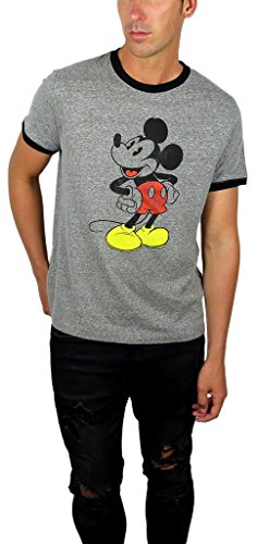 Disney Mens Mickey Mouse Ringer Tee (Small, Charcoal/Black) -