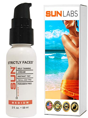 Face Tanner 2 oz Mini Travel Size Self Tanner For Face | Sunless Tanning Face Lotion Light to Medium Skin Tones by Sun Labs