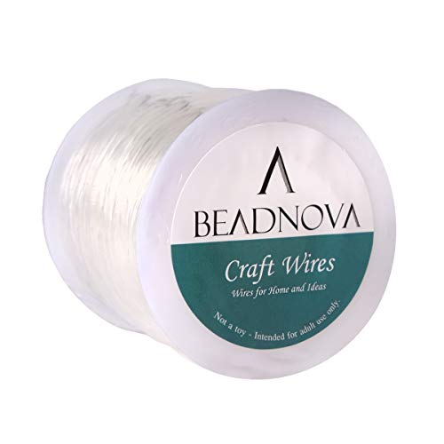 BEADNOVA 0.8mm Bracelet String Clear Craft Wire Stretch String Cord for Jewelry Making Beading Thread Elastic String Cord (100m)