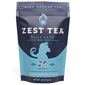 Blue Lady Black Energy Tea - High Caffeine Blend (3X Regular) - Healthy Coffee Substitute, Citrus and Hibiscus Flavor, 20 Sachet Package (50 Grams)