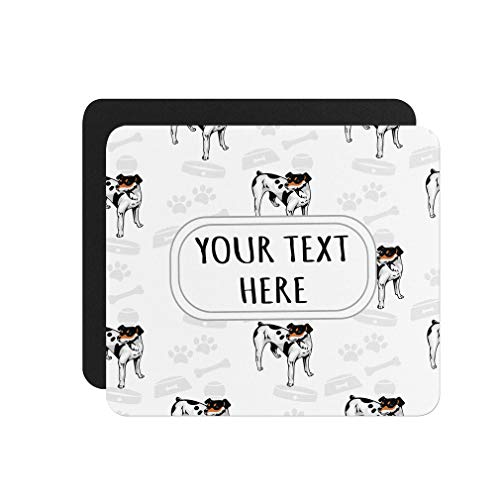 Rat Terrier Bone - Neoprene Custom Rat Terrier Dog Bone Bowl Collar Pattern Mouse Pad Square Shape Office Mouse Mat