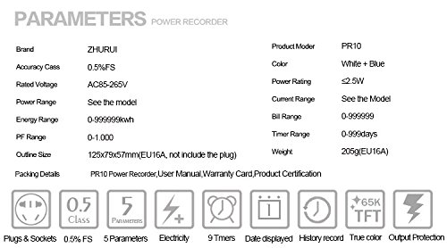 PR10-E US15A Plug Power Meter Energy Voltage Amps Electricity Monitor Analyzer by Zhurui (Image #4)