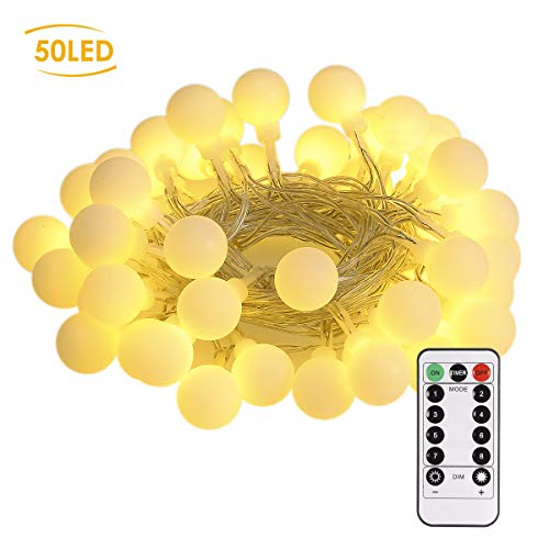 Led Globe String Lights Indoor - B-right 50 LEDs Battery Operated String Lights Outdoor, Decorative Christmas Ball String Lights for Bedroom/Dorm Room(Warm White)