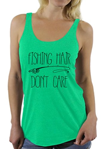 (Awkward Styles Women's Fishing Hair Don`t Care Racerback Tank Tops with A Fishing Rod Envy M)