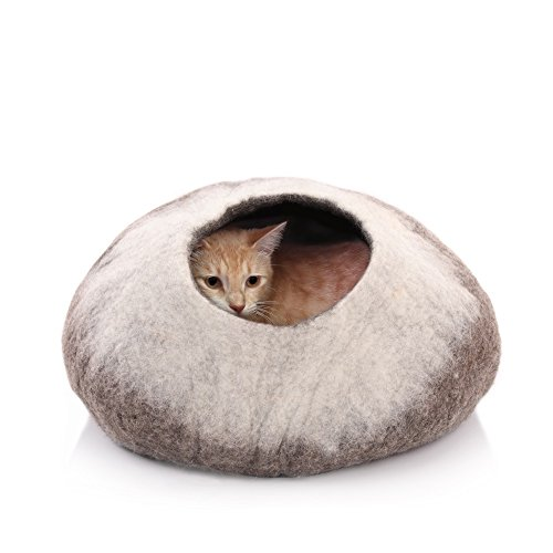 Kittycentric Cozy Cat Cave Bed- Handmade 100% Felted Wool (Large, Brown/Cream)