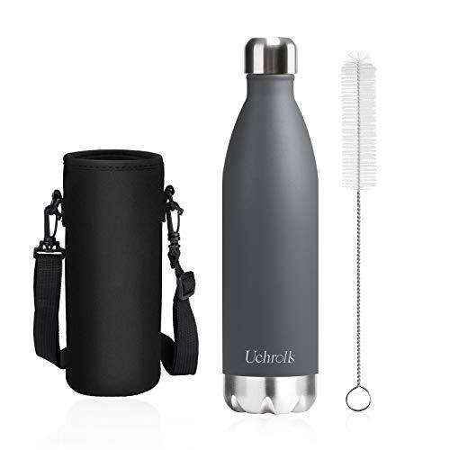 Uchrolls Botella de Agua aislada al vacio de Acero Inoxidable, 750ml, diseno de Pared Doble para Mantener Sus Bebidas Caliente y Fria, BPA Gratis, Ideal Botella de Agua Deportiva (Gris)