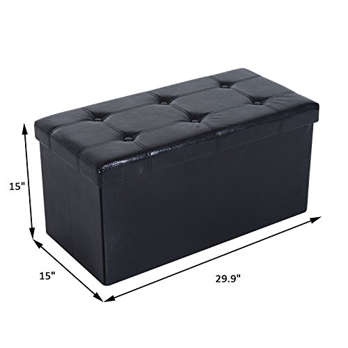 SPECIAL! Folding PU Leather footstools and ottomans Bench Pouffe Storage Box Lounge Seat Footstools (Lyon Framed)