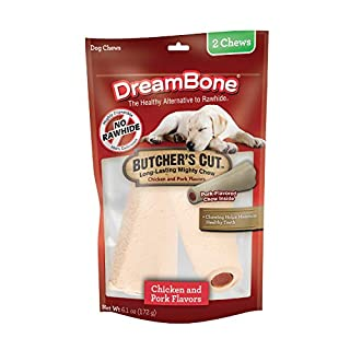 DreamBone DBBC-02263 ButcherÂ's Cut Chews 2 Count, Rawhide-Free Chews For Dogs, With Pork-Flavor Chew Center, Large, 2 pieces/pack