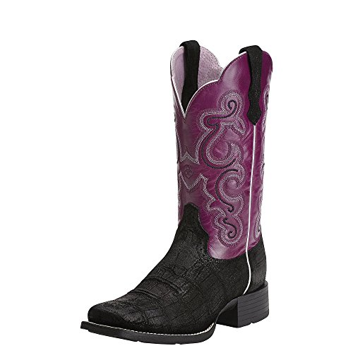 Ariat Western Boots Womens Leather Quickdraw Gator Black 100