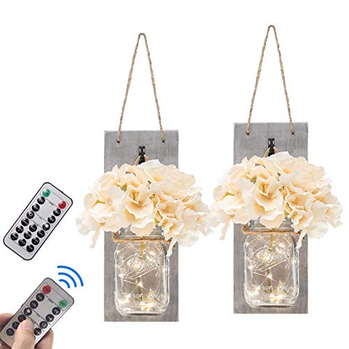 FELISHINE Mason Jar Decor Rustic Wall Sconce,with Remote Control - Rustic Home Decor,Wrought Iron Hooks,Silk Hydrangea and LED,Hanging Battery Powered Jar Sconce for Farmhouse Decor (Set of 2) ()
