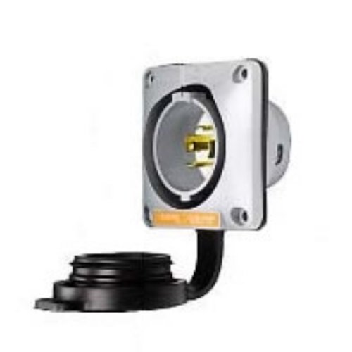 Hubbell Wiring Systems HBL2515SW Twist-Lock Watertight Safety Shroud Flanged Inlet, 20 amp, 3-Phase Y 120/208VAC, 4-Pole, 5-Wire Grounding, L21-20P, Gray