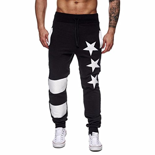 Price comparison product image Men Pants Daoroka Men's Casual Star Print Patchwork Jogging Running Trousers With Pocket Baggy Slim Sportwear (XL, Black)