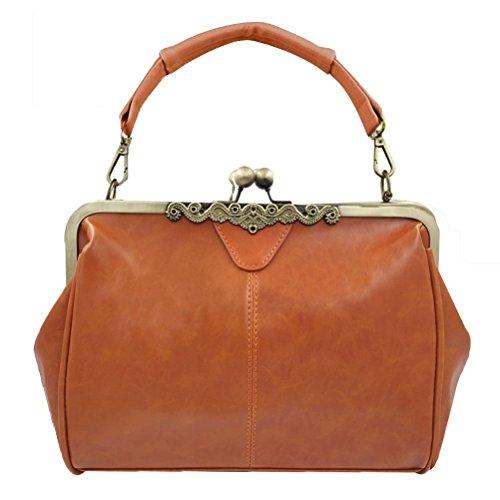 Abuyall Women Vintage Pu Leather Kiss Lock Shoulder Purse Handbag Tote Bags C