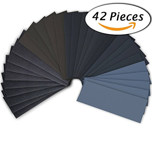 42 Pcs Wet Dry Sandpaper 120 to 3000 Grit Assortment 9 3.6 Inches Abrasive Paper Sheets for Automotive Sanding, Wood Furniture Finishing, Wood Turing Finishing (Bulk Contact Paper)