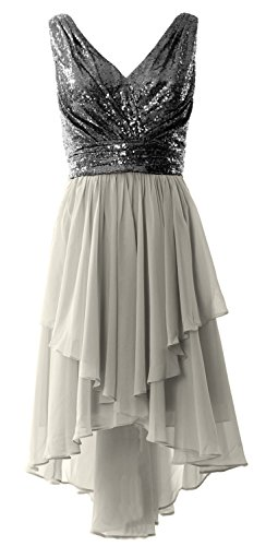 MACloth Women Straps V Neck Sequin Chiffon High Low Prom Dress Formal Party Gown Black-Silver