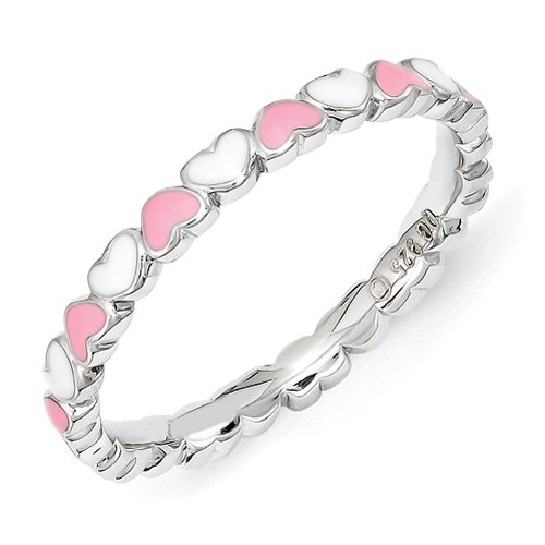 White Enameled Ring Band - 2.5mm Sterling Silver Pink/White Enameled Hearts Anniversary Ring Band - Size 10