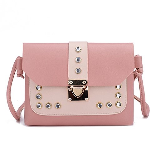 Women's Shoulder Bags,LuluZanm Sales! Ladies Hit Color Rhinestone Messenger Bags Satchel Tote Elegant Crossbody Bags Pink