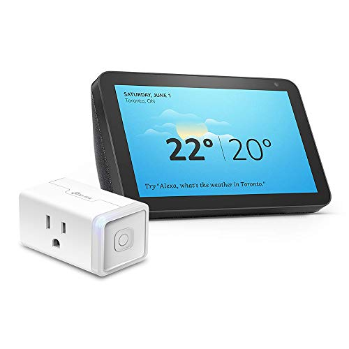 Echo Show 8 (Charcoal) Bundle with TP-Link simple set up smart plug